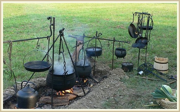 This page is about cooking on the opened fire with iron ware.