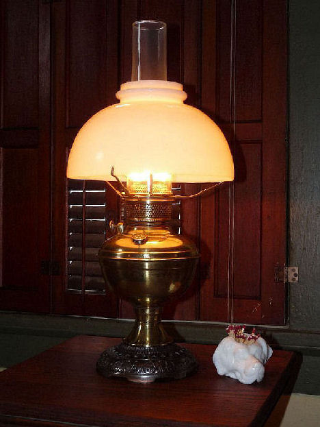 3 of 5 Antique Plume & Atwood Nickel Plated Oil Lamp & Shade